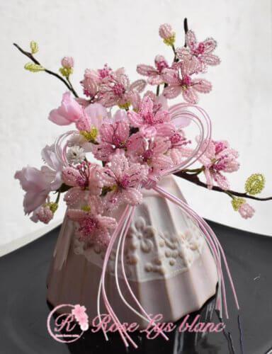 ビーズフラワー教室 桜のアレンジ